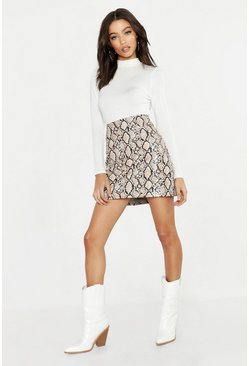 White Snake Leather Look A Line PU Mini Skirt, Donna