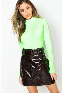 Chocolate Snake Print Faux Leather Belted Cargo Mini Skirt