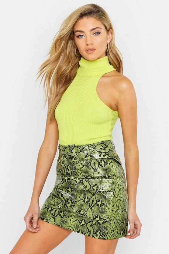 Womens Lime Snake Print Leather Look Belted Cargo Mini Skirt