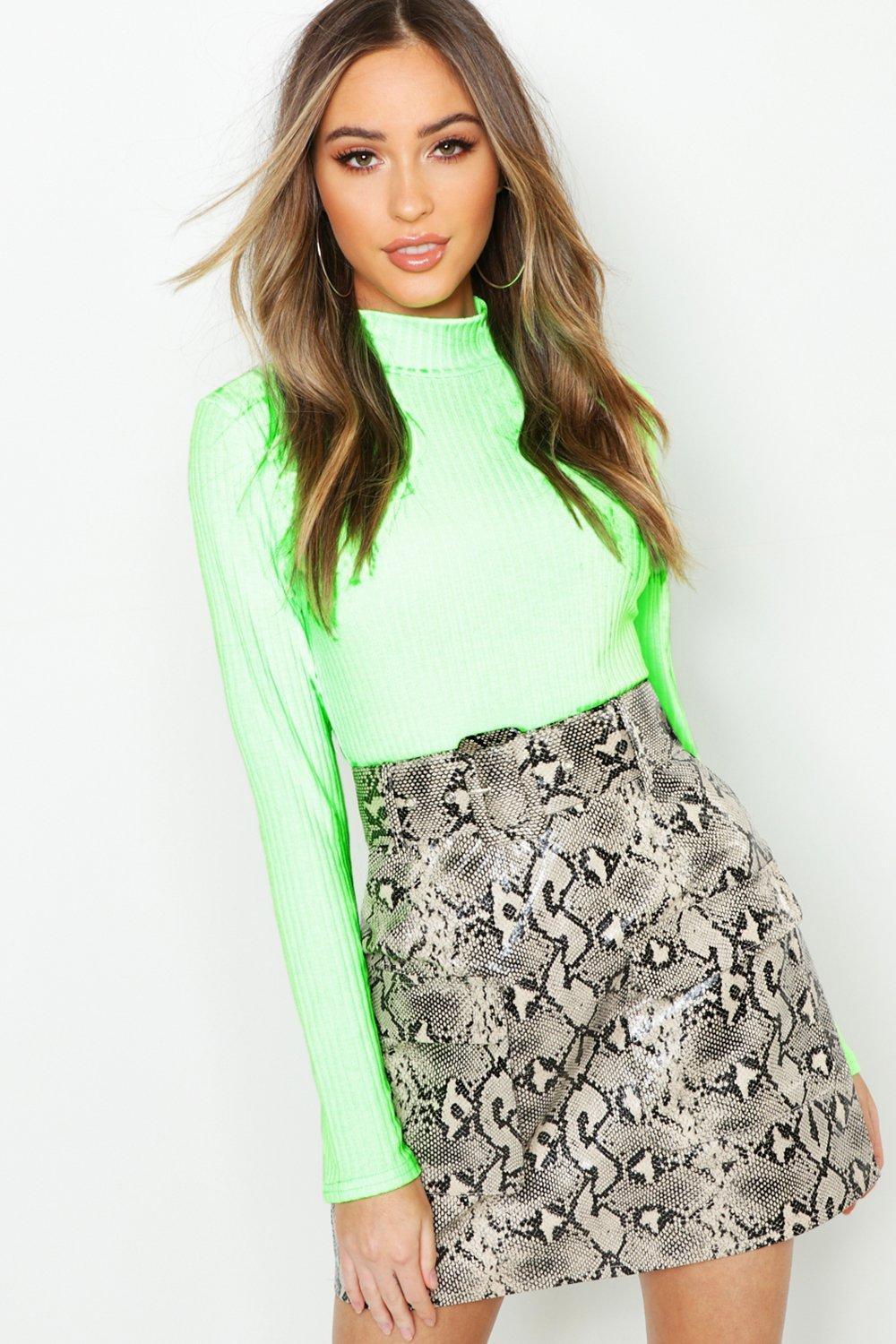 Snake Print Leather Look Belted Cargo Mini Skirt