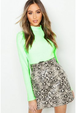 Sand Snake Print Leather Look Belted Cargo Mini Skirt