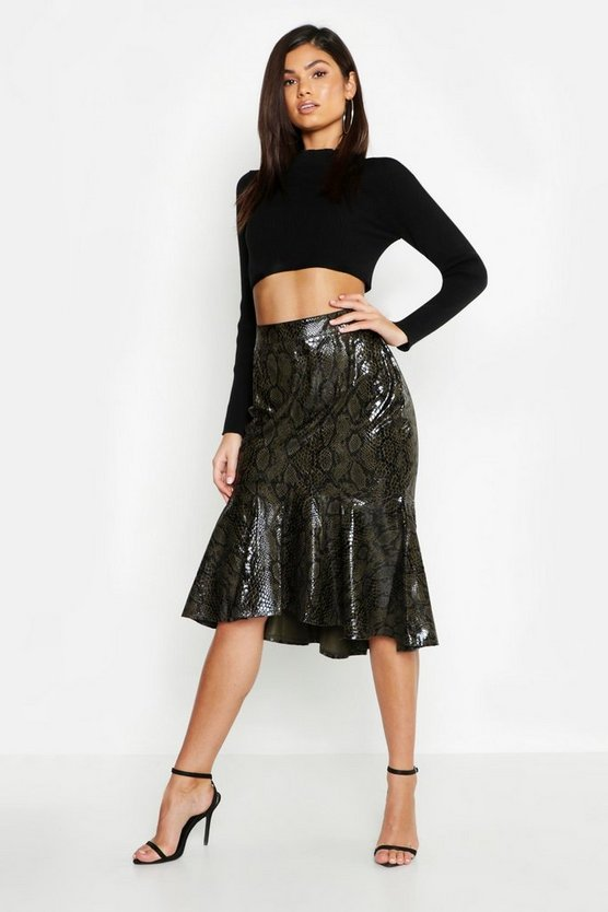 Womens Khaki Leather Look Snake Print Mermaid Midi Skirt