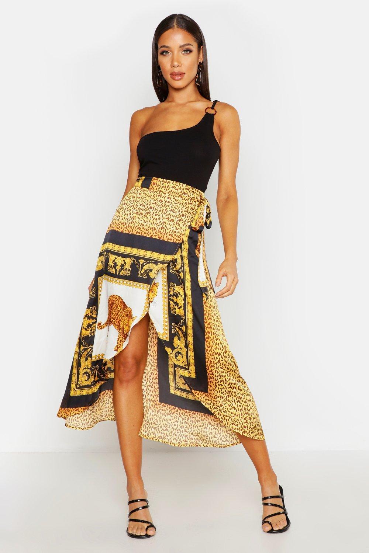 Chain Scarf satin Print Wrap Midaxi Skirt