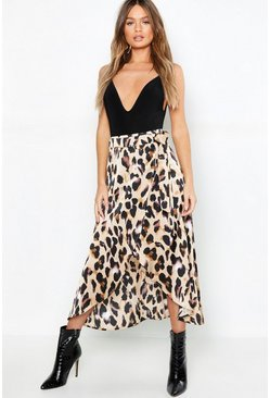 Womens Tan Leopard Satin Wrap Midaxi skirt