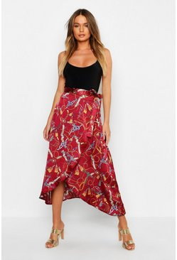 Womens Berry Satin Chain Print Wrap Midaxi Skirt
