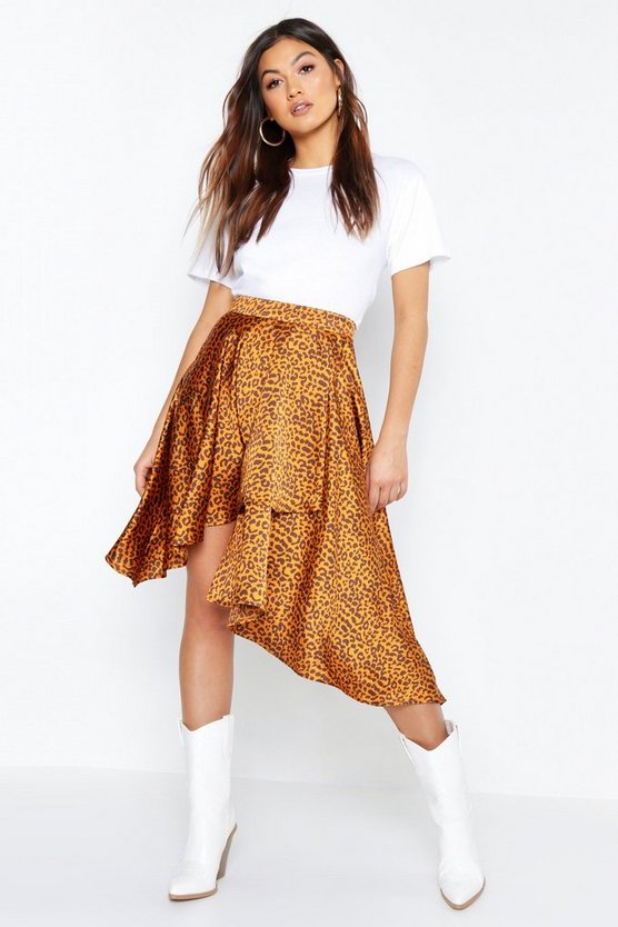 Leopard Satin  Asymmetric Midaxi Skirt, Tan, Donna