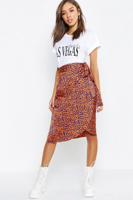 Leopard Wrap Satin Midi Skirt