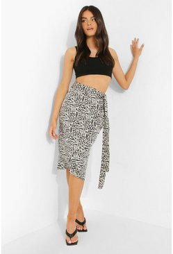 Womens Black Leopard Satin Wrap Midi Skirt