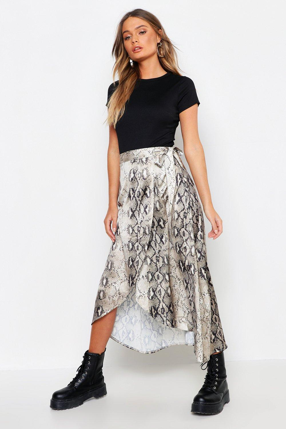 picked up beauty 2019 clearance sale Satin Snake Print Wrap Midaxi Skirt | Boohoo