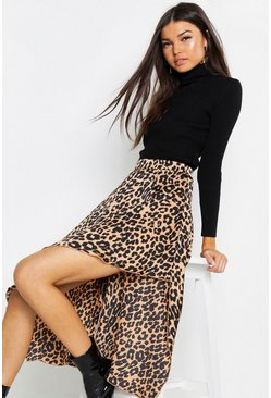Tan Satin Leopard Asymmetric Midaxi Skirt