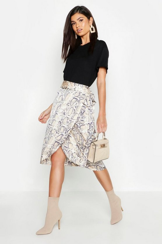 Snake Print Satin Wrap Midi Skirt