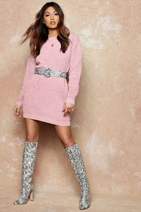 Womens Blush Crew Neck Sweater Dress