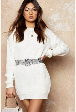 Womens Cream Crew Neck Sweater Dress