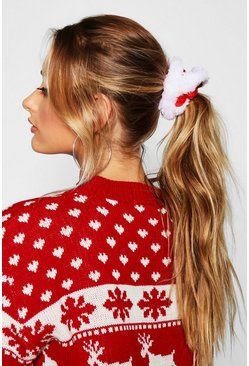 Womens Red Christmas Santa Scrunchie