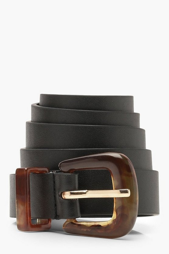 Womens Black Resin Buckle Belt