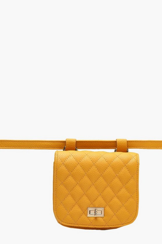 Womens Mustard Quilted Belt Bag