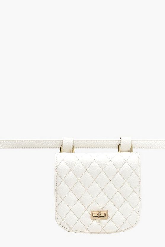 Womens White Quilted Belt Bag