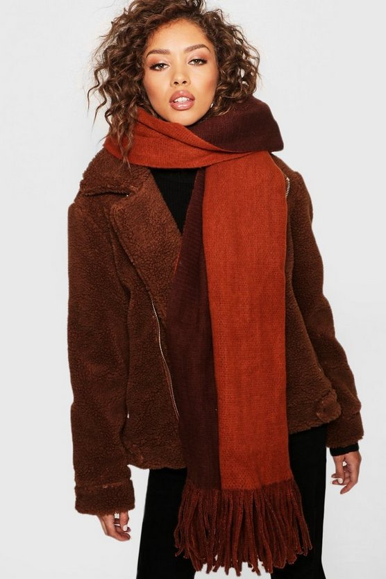 Two Tone Chunky Scarf, Brown, Donna