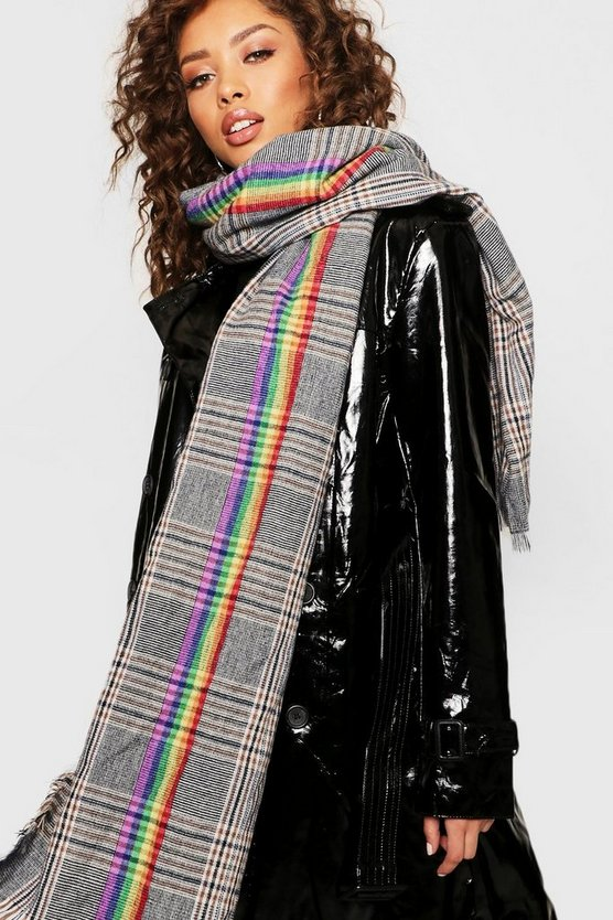 Womens Multi Mono Rainbow Check Scarf