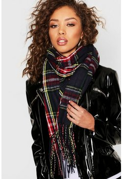 Womens Multi Tartan Check Chunky Scarf