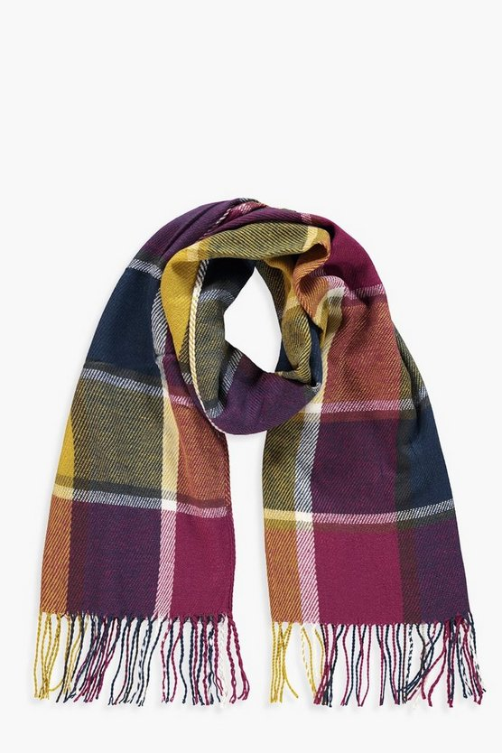 Womens Multi-Coloured Chunky Check Scarf