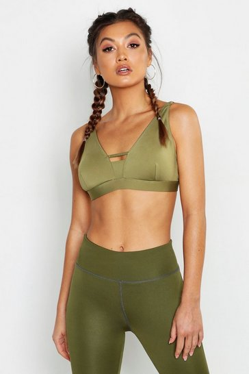 Womens Khaki Fit Firm Support Sports Bra