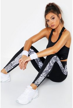 Womens Black Fit Snake Print Running Leggings