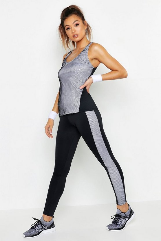 Womens Black Fit Textured Panel Running Leggings