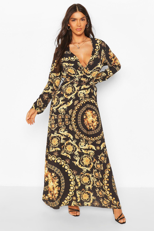 70s Dresses – Disco Dress, Hippie Dress, Wrap Dress Chain Print Wrap Front Maxi Dress $50.00 AT vintagedancer.com