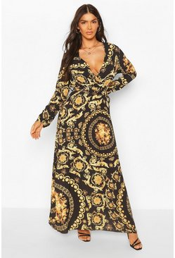 Chain Print Wrap Front Maxi Dress, Black