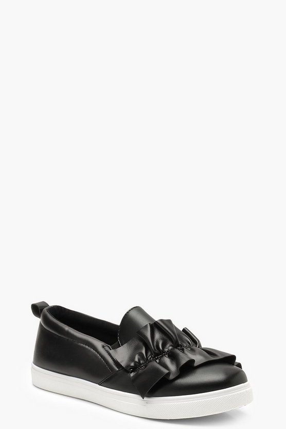 Womens Black Ruffle Detail Skaters