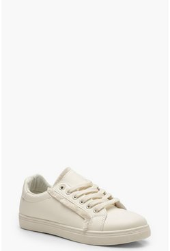 Fringe Detail Trainers, White, Donna