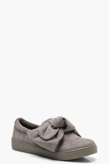 Womens Grey Bow Detail Skaters