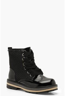 Womens Black Woven Panel Lace Up Hiker Boots