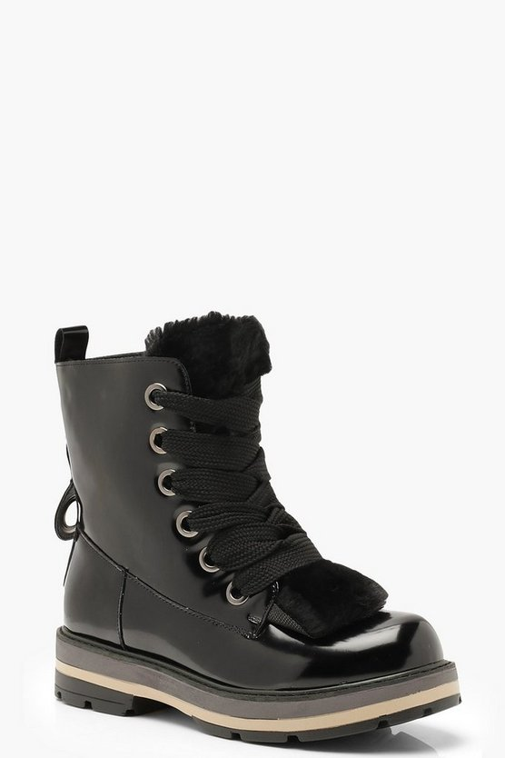 Black Chunky Lace Hiker Boots