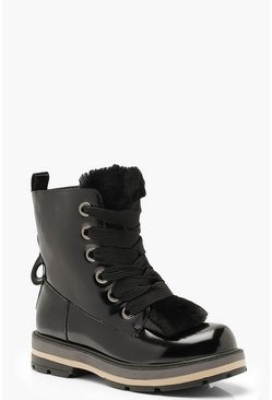 Womens Black Chunky Lace Hiker Boots