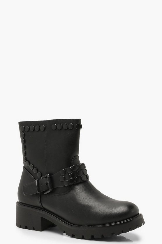 Womens Black Studded Buckle Detail Biker Boots