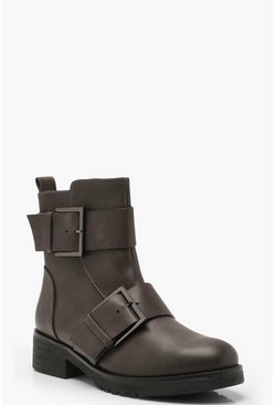 Womens Grey Large Buckle Detail Biker Boots