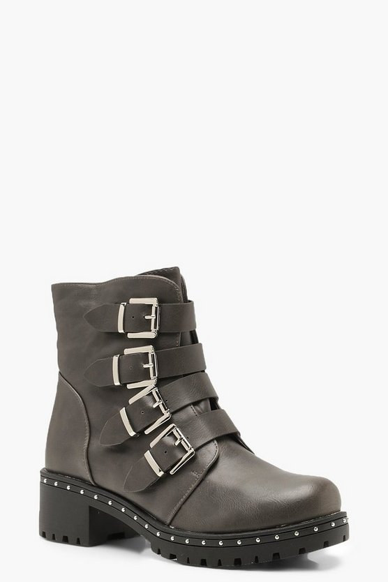 Chunky Sole Buckle Detail Biker Boots