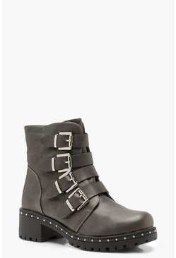 Womens Grey Chunky Sole Buckle Detail Biker Boots