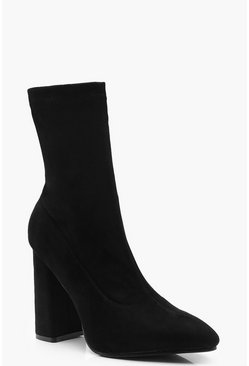 Womens Black Pointed Block Heel Sock Boots