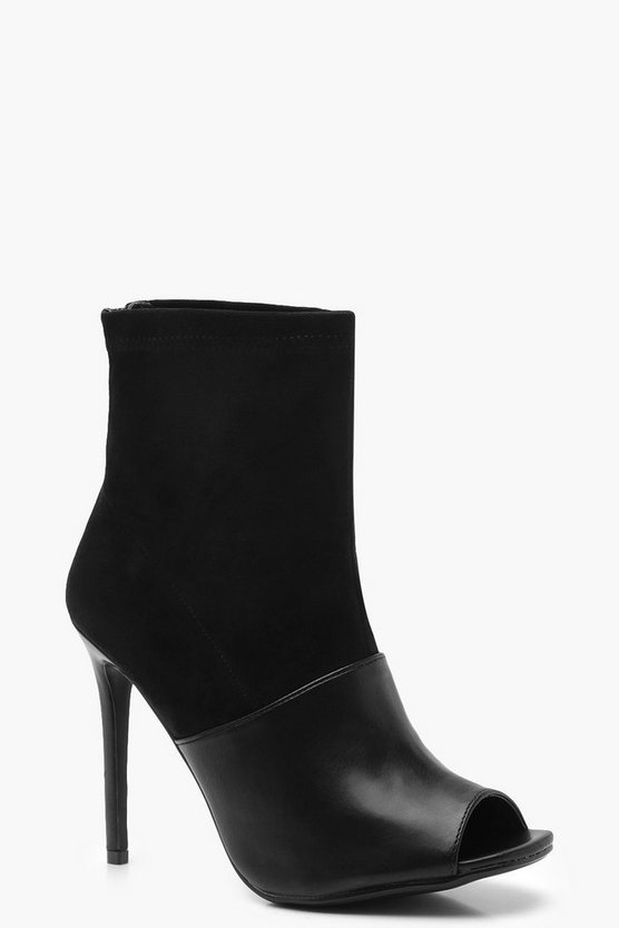 Womens Black Mix Material Peeptoe Shoe Boots