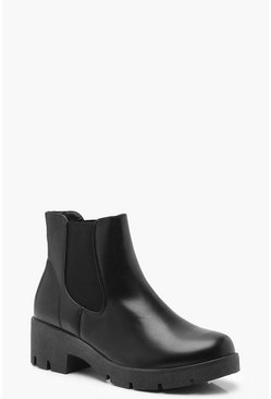 Womens Black Chunky Sole Chelsea Boots