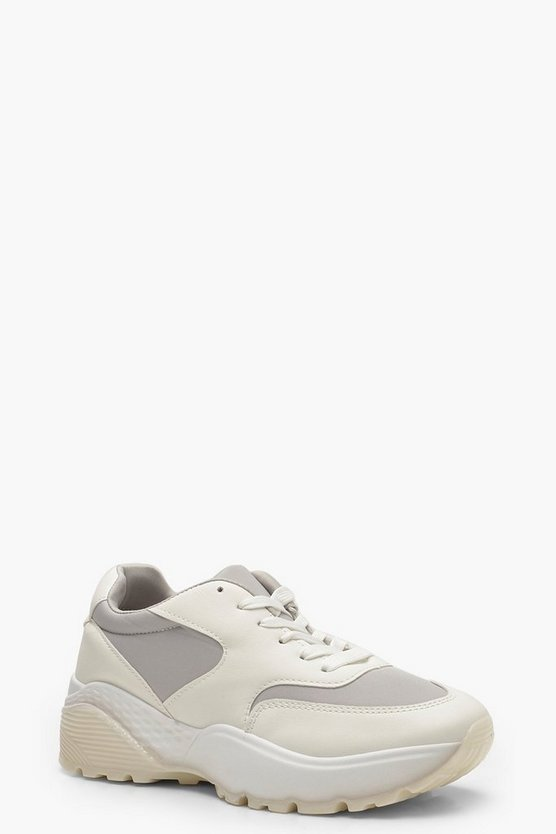 Womens White Chunky Sole Dad Trainers