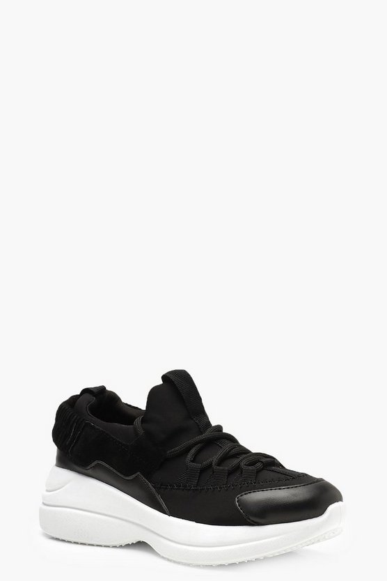 Chunky Sole Lace Up Trainers, Black, Donna