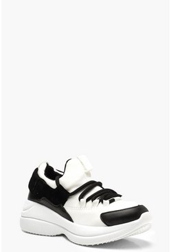 Chunky Sole Lace Up Trainers, White, Donna