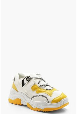 Womens Yellow Striped Lace Chunky Sole Sneakers