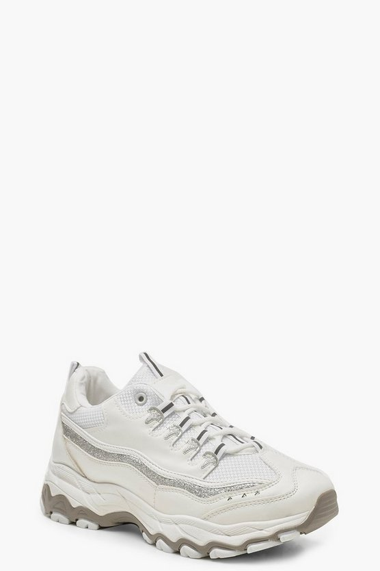 Womens White Glitter Panel Chunky Reflective Trainers