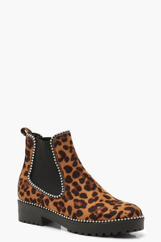 Womens Leopard Leopard Chunky Chelsea Boots