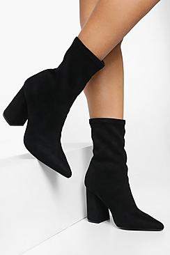 Pointed Block Heel Sock Boots